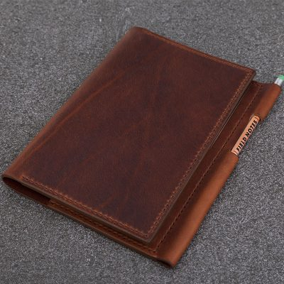 A5 Dark Tan Leather Notebook