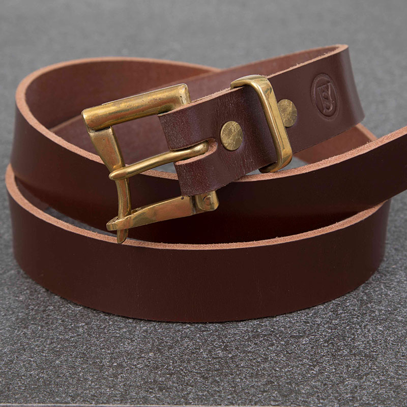 Brown Bridle Leather Belt With Quick Release Brass Buckle