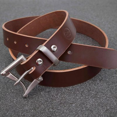 Brown Bridle Quick Release Nickle Buckle Belt | JSYLEATHERWORKS